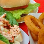 Lobster Roll, Hamburger and Onion Rings