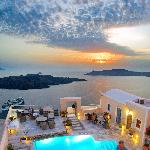Our pool terrace overlooking the Santorinian Caldera and the Aegean Sea