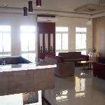 bright, sunny, comfortable lobby