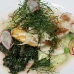 Pan Roasted Flounder with Green Pea Risotto