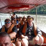 on the motorized canoe to the jungle hike
