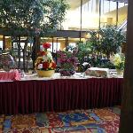 Buffet line set up in the Atrium