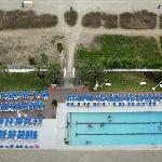 looking down at pool/beach