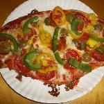 Miguel's pizza with my usual toppings: pepperoni, green peppers, banana peppers, and green olive