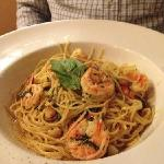 Shrimp over pasta