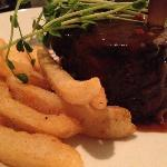 Rib fillet, pepper sauce and chips.  Cooked to perfection.