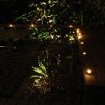 bbq area at night with romantic candles