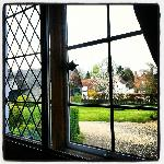 View of the grounds from the window at the upstairs landing