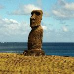 Moai less than a 5 minute walk away from the cabins.