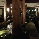 Koi pond in main lobby at night
