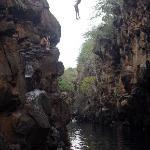 Local kid jumping into Las Grietas
