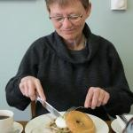 My mother enjoys a mushroom bagel with poached egg. Yum!