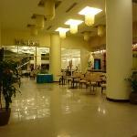 The impressive hotel lobby