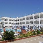 Orion Hotel Faliraki - pools & sunbeds - main accommodation