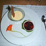 Lemon pannacotta with mixed berry compote and glass cookie