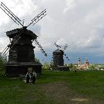 Windmills in the the museum of wooden architecture in Suzdal