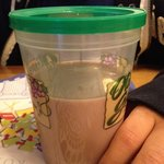 This is the kids chocolate milk they brought my son. They didn't even give him a straw. Same thi