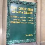Greek Catholic Church Mass times notice board