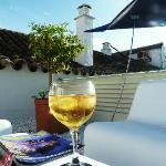 Saffron gin and tonic on sun deck.
