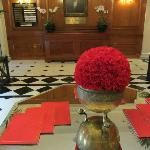 Beautiful carnation-filled lobby