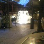 Illuminated water fountain, at the outdoor courtyard