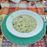 Perfect risotto with baby artichokes
