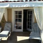 Double French doors into poolside room
