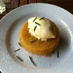olive oil lemon cake with rosemary ice cream