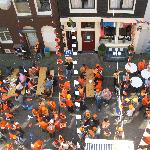 Queens Day from the front of the hotel