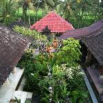 View over Balinese buildings in Nirwa Homestay