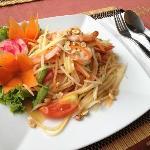 A refreshing and spicy shrimp/papaya salad