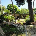 The main building with hammocks, view from beach side