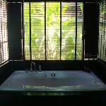 Soaking tub inside my villa's bathroom