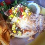 tough shell mush crab sandwich with charred? corn