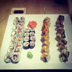 Three Rolls Special, Volcano roll and Red Dragon Roll. Yum.