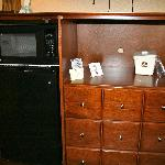 Microwave and fridge.