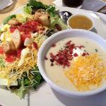 ROC house salad with loaded baked potato soup