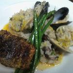 Blackened fish with mussels and clams