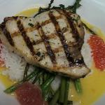 Grilled Swordfish with grapefruit nage.