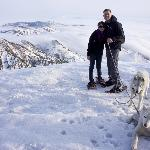 At the top of Mount Yakote and walking some huskies