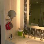 Vanity mirror provided.