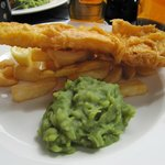 Fish-n-chips with mashed peas!