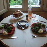having dinner beside the window