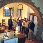 our group standing by kitchen