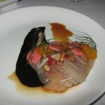 Hamachi Sashimi Black garlic