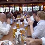 Communal tables and huge beer mugs