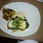 Lily's Atlantic Salmon with Spinach, Artichokes, Goat Cheese, Garlic Mash