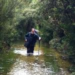 Dad walking through the flooded track - it was over my thighs