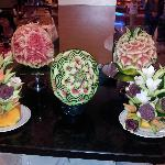 Carved fruit veg in Dining foom