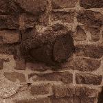 Artillary shell imbedded in brick at Fort Sumter